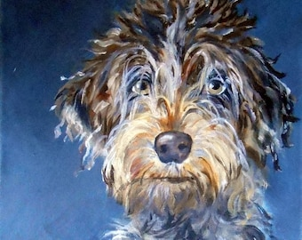Wirehaired Pointing Griffon Art, Original Oil Painting Portrait by Robin Zebley