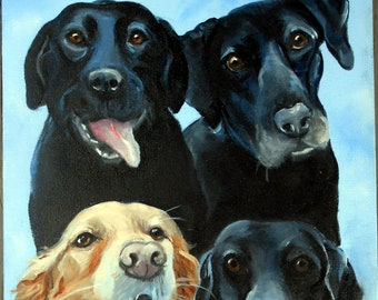 We Are Family! Dog Family Portrait Oil Painting by Artist Robin Zebley Home fall