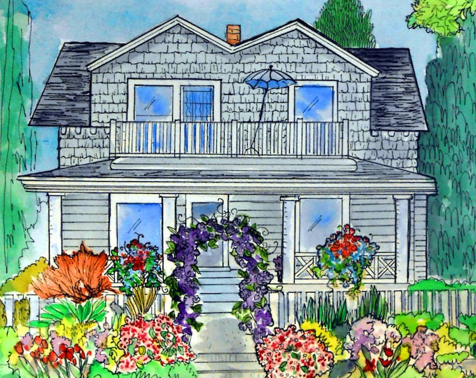 Watercolor House Painting with Ink Accents