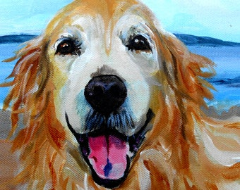 """Oil Painting Pet Portrait Oil Painting, Custom from your Photographs, Golden Retriever Art, or any Breed, 11 x 14"""" Gift Certificate"""