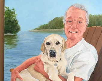 Pet Portrait with Owner Oil Painting Portrait,  Genuine Hand Painted by Artist Robin Zebley