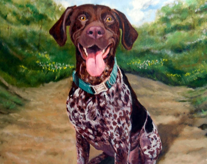 "German Shorthaired Pointer Landscape Painting, Large Oil Painting on Canvas, 16"" x 20"", Artist Robin Zebley Home fall"