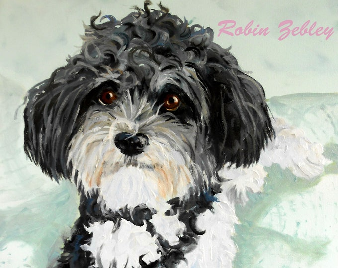 Personalized Pet Oil Painting, Havanese or any breed from your photos Home fall