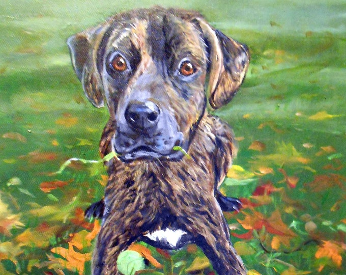 Pet Portrait Oil Painting,  Boxer Art or your dog's breed, Personalized Animal Art Painted artist Robin Zebley Brindle Profile Sale