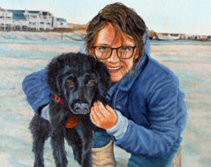 Custom Pet Portrait with Person, Dog Portrait, Portrait of Pet and Owner, Pet and Owner Painting, Dog Portrait with Human, My Dog and Me Art