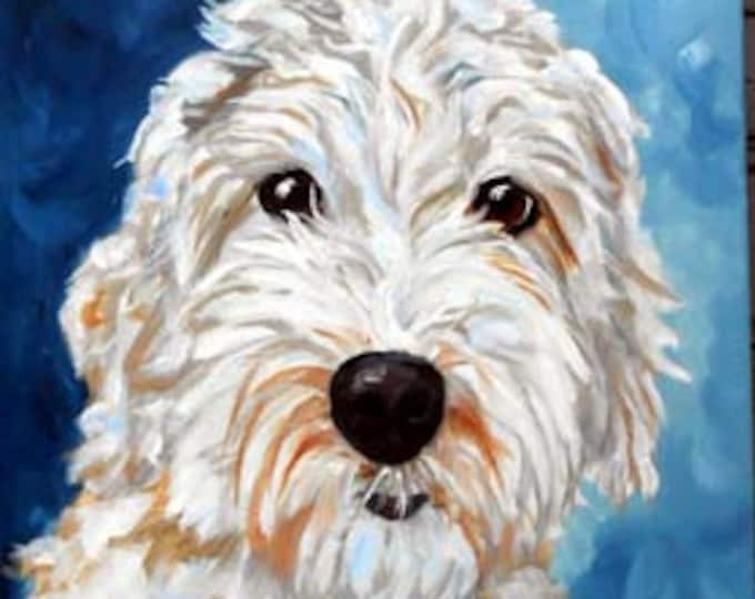 Hand Painted Custom Pet Portrait Painting, Oils on Stretched Canvas, Labradoodle, Goldendoodle, Doodle or any breed Gift Certificate Home