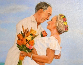 Large Portrait Oil Painting of Bride and Groom, Custom from Your Photos