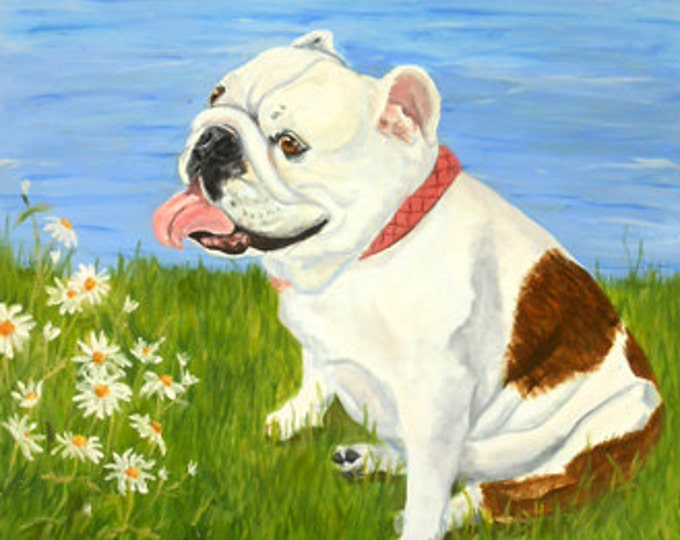 Custom Dog Portrait Painting, Large Oil Painting on Canvas from your photos, English Bulldog or any breed Gift Certificate Home fall