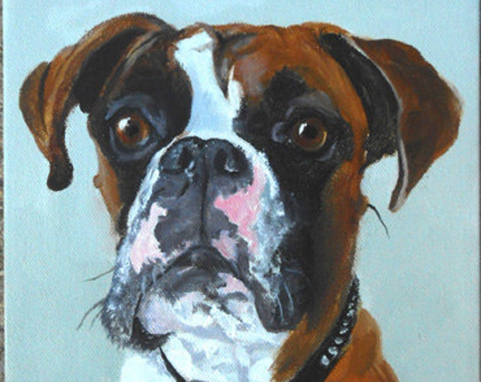 "Large Custom Pet Portraits, Oil Painting by me, etsy artist Robin Zebley, Custom Portrait Art, Boxer or any breed, 18"" x 24"" Home fall"