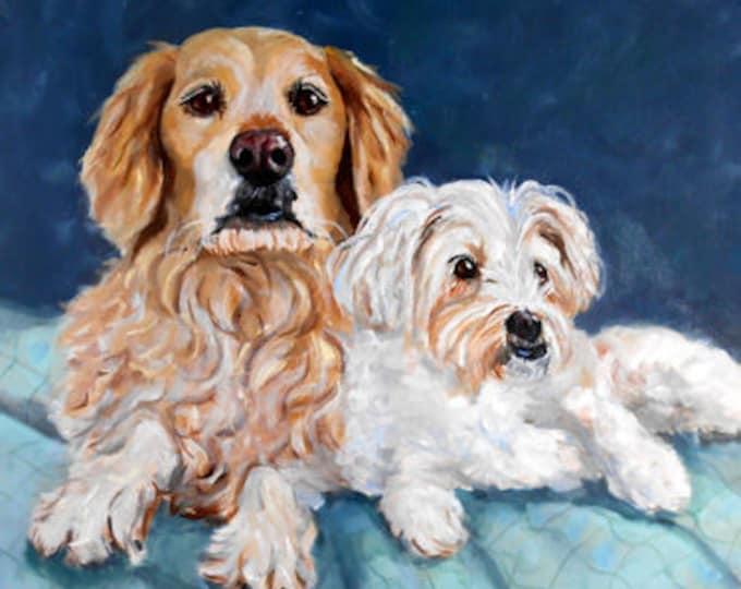 "Golden Retriever. Custom Portrait Painting, Oils on Square Canvas, 18"" x 18"" Animal Art Home fall"