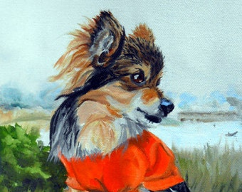 Small Dog Portrait Oil Painting, by Artist Robin Zebley, Custom Pet Portrait Art, Oil Painting from Photos, Artist Robin Gift Certificate