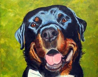 Rottweiler Custom Portrait Oil Painting - Pet Portrait Artist, Art He'll Love for Office or Home Decor Gift Certificate