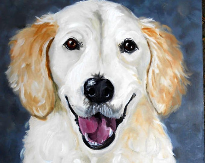 Smiley face! Custom Pet Portrait, Dog Portrait Yellow Lab, Oil painting from Photo, Dog Lover Gift Idea, Animal Art, Home, Sale Home fall