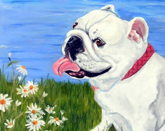 English Bulldog Art, Print of an Original Oil Painting