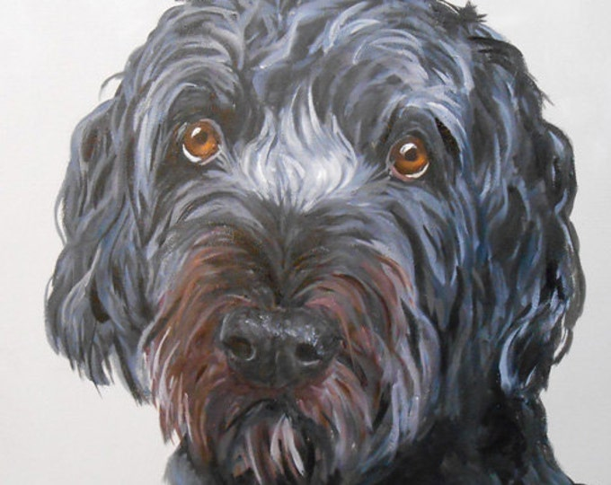 Genuine Hand Painted Dog Art Painting, Christmas 2018 Commissions now being taken, Artist Robin Zebley Home fall