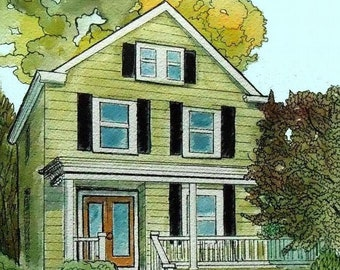Custom House Portrait, Watercolor House Painting, home painting art, Realtor Gift