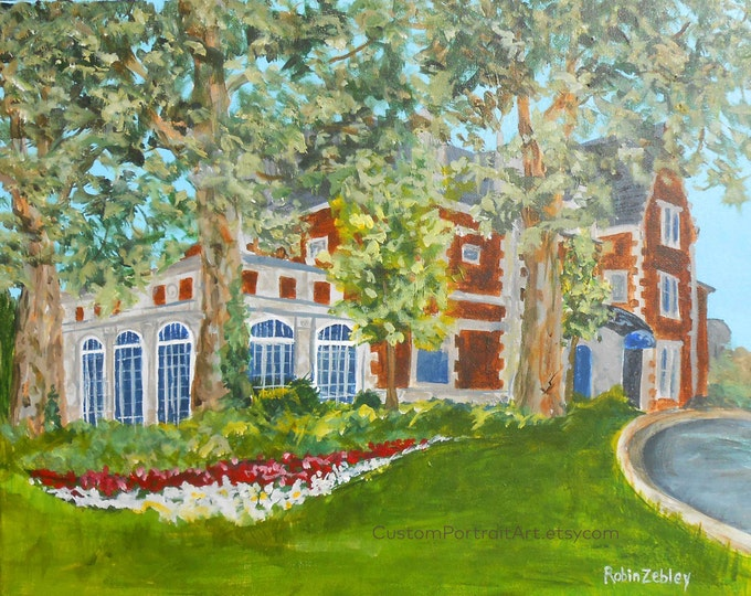 Anniversary Gift, Wedding Venue Oil Painting, Church Portrait, Wedding Gift for Couple, Glidden House in Cleveland, or THEIR Church or Venue