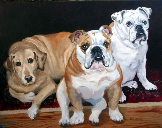 Oil Painting Dog Family Pet Portraits by Artist Robin Zebley