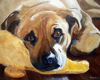 Original Pet Portrait Painting, Oils on Canvas by Artist Robin Zebley, with free shipping