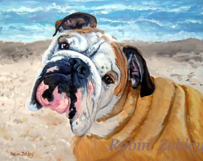 "Old English Bulldog Portrait Painting, oils on canvas 16"" x 20"""