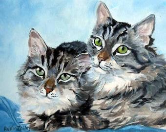 Gray Striped Tabby Cats Art Print