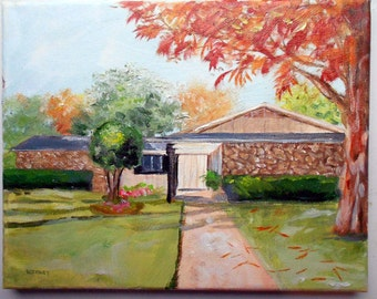 16 x 20 House portrait oil painting custom from your photos by artist Robin Zebley Gift Certificate
