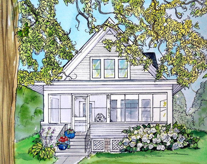 Custom House Painting, Cottage, Colonial, Bungalow or any style, Watercolor and Ink