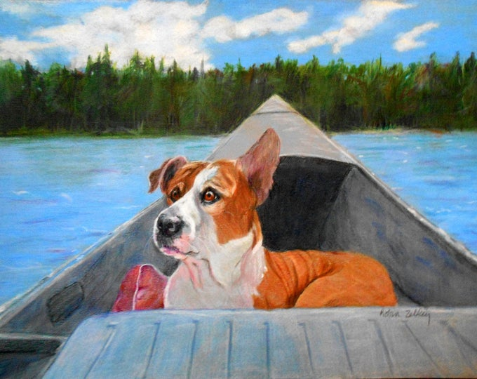 Pet Portrait, Vacation Memories, Pitbull Mix or any breed, Lake Background, Boat Painting, Dog Portrait, Dog Drawing, Pet Drawing, Home fall