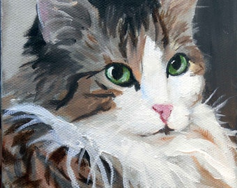 Custom Cat Portrait Oil Painting, 8 x 10 Gift Certificate Home fall