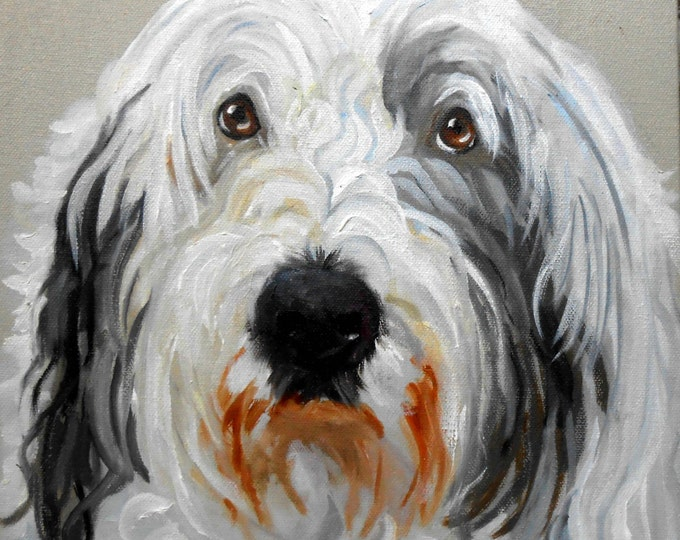 Old English Sheepdog Art, Portrait Painted in Oil Paints