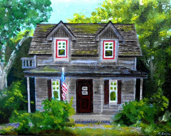 Custom House  Oil Painting portrait, Vacation Cabin Gift Certificate