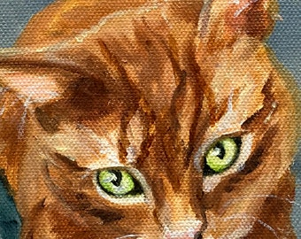 Oil Painting Cat Portrait Painting, Orange Striped Tabby Cat or any Pet Painted from Pictures by Artist Robin Zebley