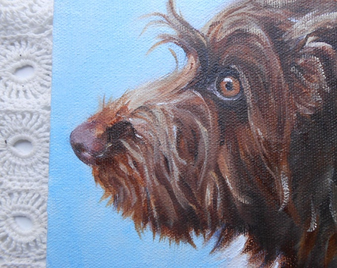 Gift Idea for Man, Custom Pet Portrait Painting by Artist Robin Zebley, Wire Haired Pointing Griffon or any breed Home fall