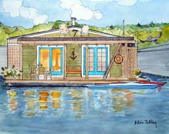 Custom House Portrait, Houseboat Painting, Custom Home Portrait, Boat Portrait, Watercolor house portrait Gift Certificate Home fall
