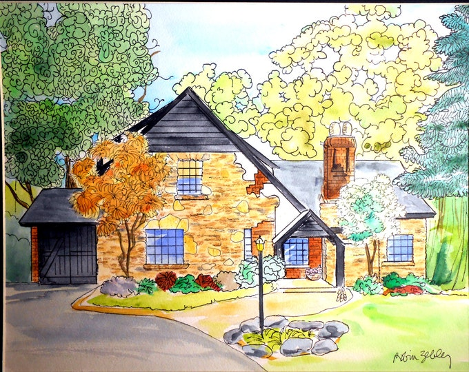 House Portrait Painting, Watercolor with Ink Details, Fall Folliage Gift Certificate Home fall