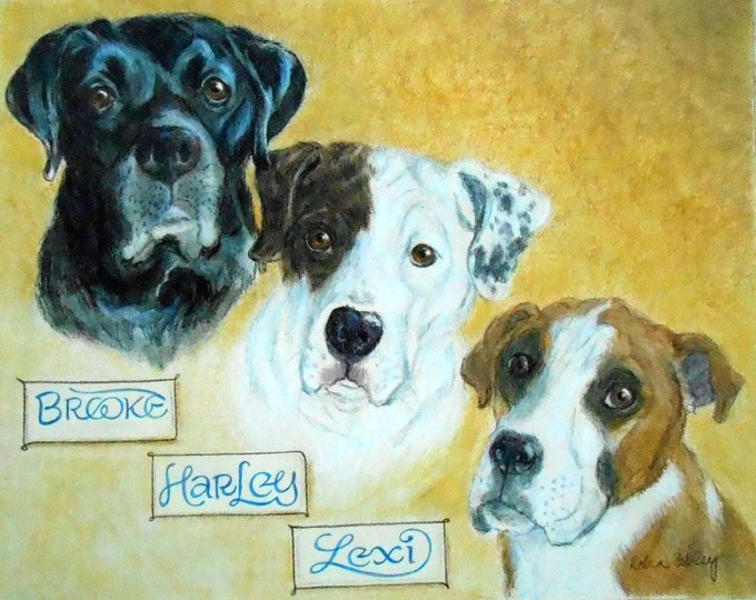 "Custom Pet Portrait, Dog Portrait with Hand Lettering Name Tags, 11"" x 14"""