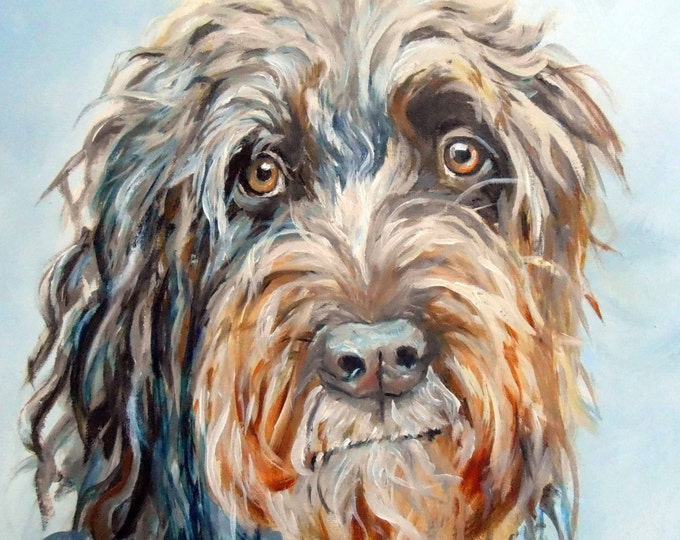 Custom Pet Portrait Oil Painting on canvas, 11 x 14 or 12 x 12 by Artist Robin Zebley Home fall