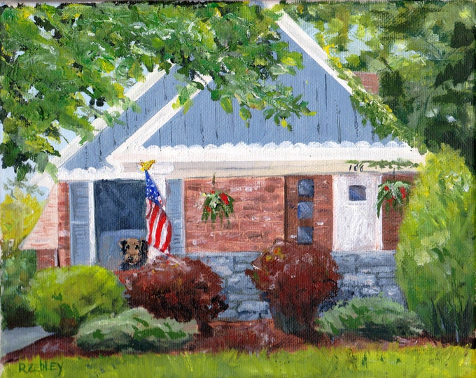 Oil Painting House portrait Custom from your photos, HANDPAINTED