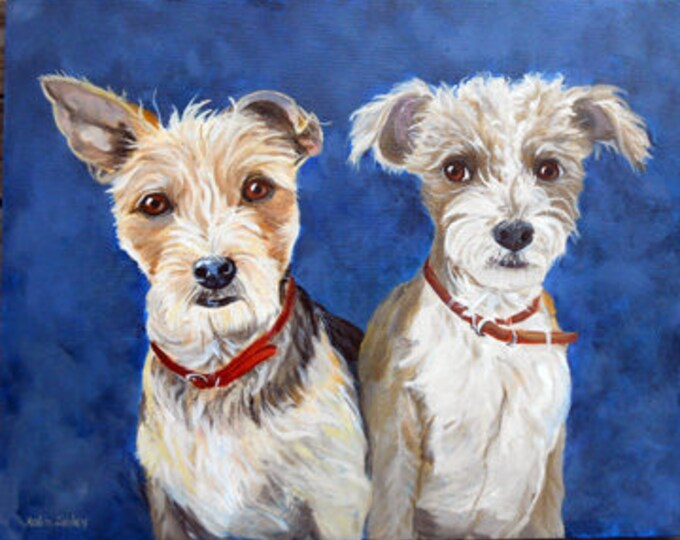 """Portrait with Two Dogs, Oils on Canvas, 18"""" x 24"""", Pet Portrait Home fall"""