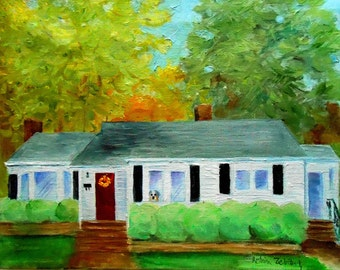 House Oil Painting Portrait, Wedding Venue or Church, Custom Home Portrait Painted by Artist Robin Zebley From Your Pictures
