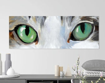 """Cats Eyes Oil Painting, 12 x 36"""", Painted Just for you, Dramatic, Large Unusual Size , Big Green Eyed Black and White Art"""