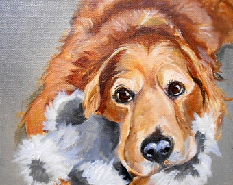 "Very Large Golden Retriever Art, Custom 48"" x 36"" Oil Painting Pet Portrait Painted from your photos by Artist Robin Zebley"