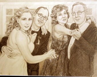 Custom Portrait Drawing, Personalized from your photos, Old Fashioned Sepia brown with white highlights