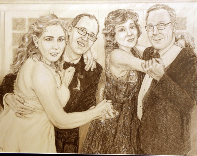 Custom Portrait Drawing, Personalized from your photos, Gift idea for Anniversary, Birthday, Christmas Home fall