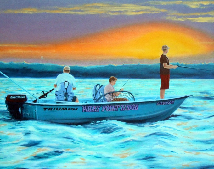 Large Oil Painting, Custom Oil Painting from Photos, Gift Idea, Fishing Painting, Vacation Photo Turned Into Painting, Wiley's Point