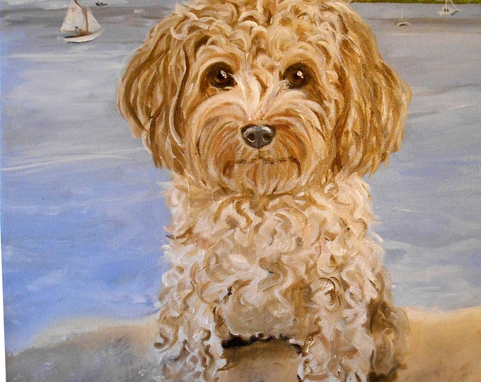 """Very Large Dog Oil Painting Art, Custom 48"""" x 36"""" Pet Portrait with Landscape Background Painted from your photos by Artist Robin Zebley"""