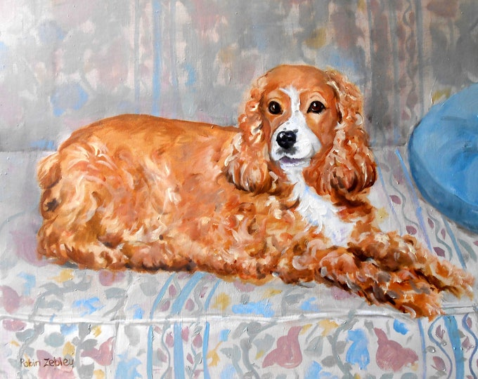 """Cocker Spaniel Oil Painting Portrait of your dog, or any pet, 11"""" x 14"""" size Gift Certificate"""