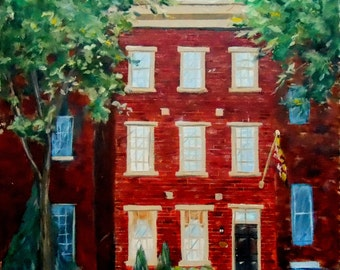 Custom House Oil Painting, Row house / Townhouse Portrait