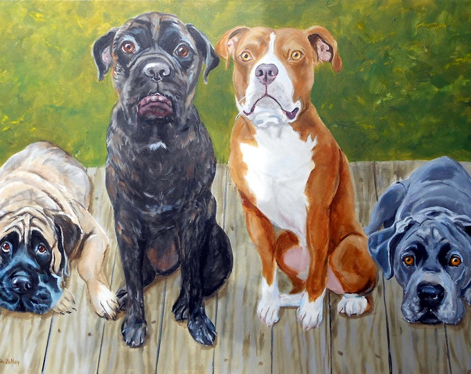 "Large Custom Pet Portraits with two dogs or more, Oil Painting by me, artist Robin Zebley, Custom Portrait Art, 18"" x 24"" Home fall"