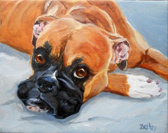 "Boxer Dog Oil Painting Portrait, 16"" x 20"", by Artist, Robin Zebley, painted from photos"